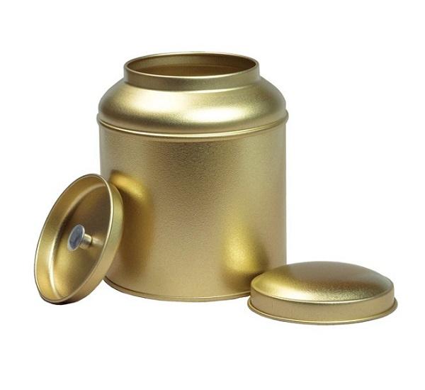 Theeblik goud met binnendeksel