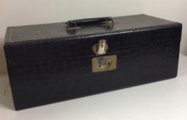 8-track opberg koffer - 8-track case - 24 tapes Krokodillenleer