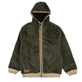 Butter Goods Sherpa Zip Thru Jacket Pine / Khaki