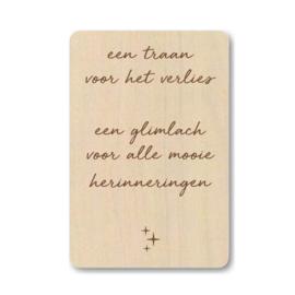 """Houten kaart """"Een traan voor het verlies ..."""""""
