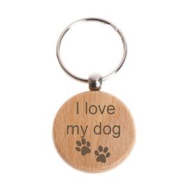 """Houten sleutelhanger """"I love my dog"""""""