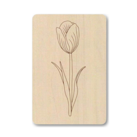 "Houten kaart ""Enkele bloem"""