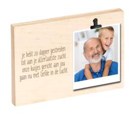 Houten clipboard met herinneringstekst