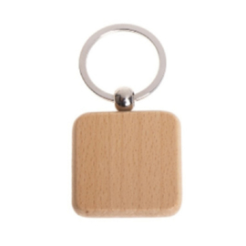 "Houten sleutelhanger ""Vierkant - eigen ontwerp"""