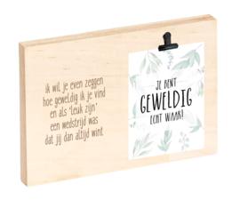 """Houten clipboard """"Geweldig"""""""