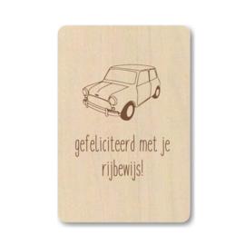 """Houten kaart """"Gefeliciteerd met je rijbewijs"""""""