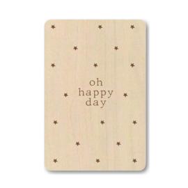 """Houten kaart """"Oh happy day"""""""