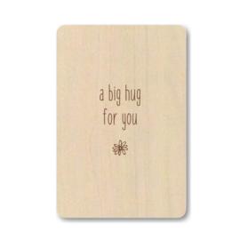 "Houten kaart ""A big hug for you"""
