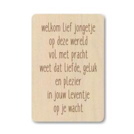 "Houten kaart ""Welkom lief jongetje ..."""