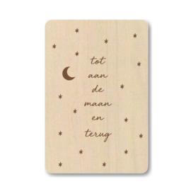 """Houten kaart """"Tot aan de maan en terug"""""""
