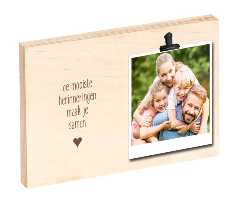 "Houten clipboard ""De mooiste herinneringen maak je samen"""