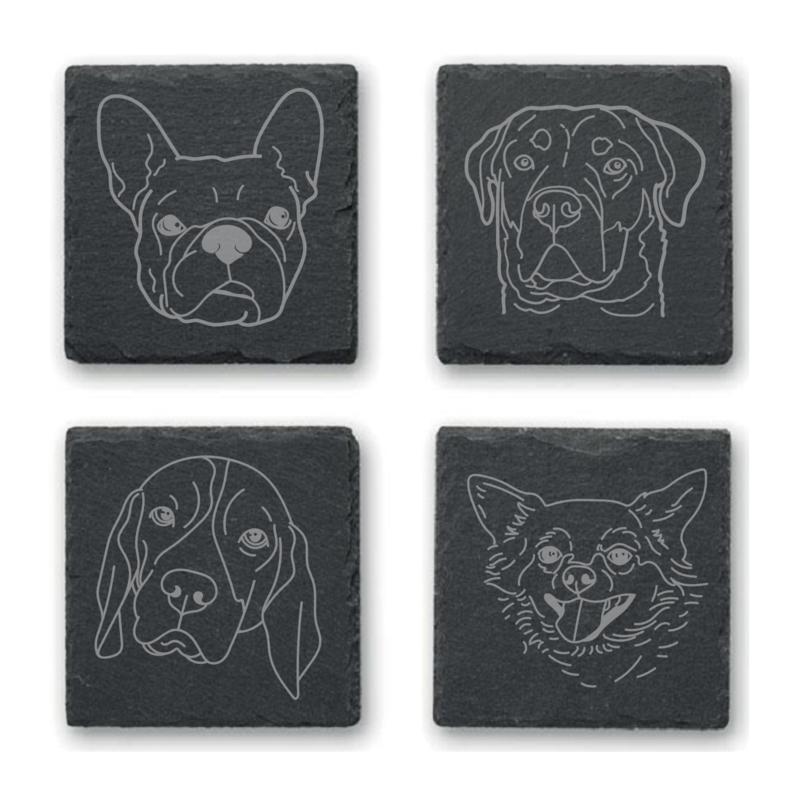 Leisteen onderzetters - honden