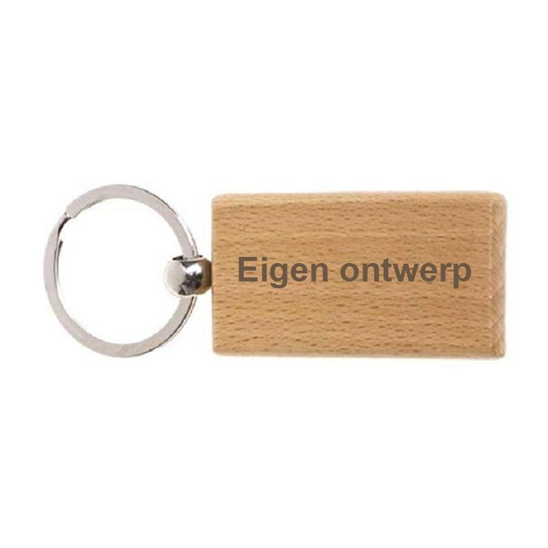 "Houten sleutelhanger ""Langwerpig strak - eigen ontwerp"""