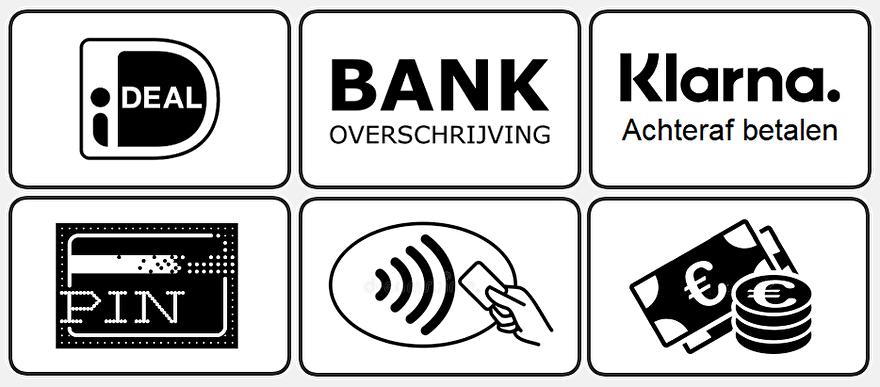 iDeal - Bank overboeking - Klarna achteraf betalen - Pin - Contactloos - Contant