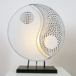Tafellamp Ying Yang, parlemour wit 36 cm