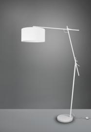 Vloerlamp Ponte, wit met stoffen kap wit