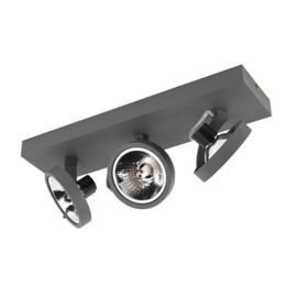 Plafondspot  Go rechthoekig, 3-lichts grijs incl. licht bron