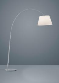 Vloerlamp Nala, nikkel met witte stoffen kap