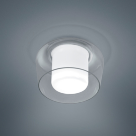 Plafondlamp Canio, helder - wit glas