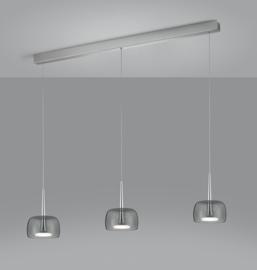 Hanglamp Flute led, 3-lichts nikkel met grijs rook glas