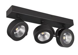 Plafondspot  BC0033B led, 3-lichts mat zwart