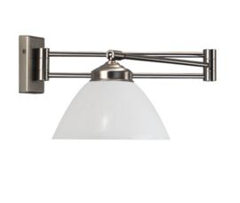Wandlamp Calimero, zwenkbaar wit glas
