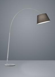 Vloerlamp Nala, nikkel met zwarte stoffen kap