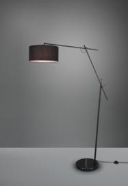 Vloerlamp Ponte, zwart met stoffen kap zwart