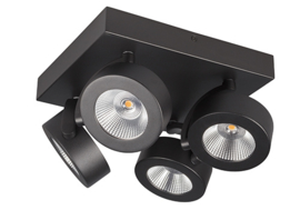 Plafondspot  BC0034B led, 4-lichts mat zwart