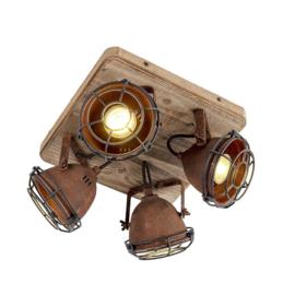 Plafondspot  Gina, 4-lichts roestbruin met hout incl. 4 wifi GU10