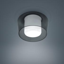 Plafondlamp Canio, rook - wit glas