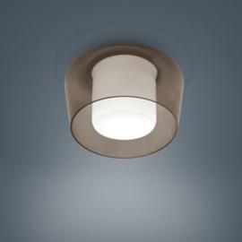 Plafondlamp Canio, amber - wit glas
