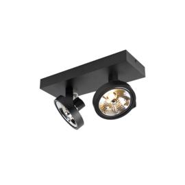 Plafondspot  Go rechthoekig, 2-lichts zwart incl. licht bron