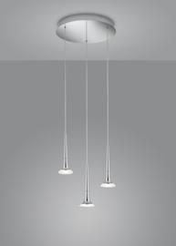 Hanglamp Flute led, 3-lichts rond nikkel