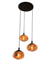 Hanglamp Rodewolk 300, 3-lichts met amber glas