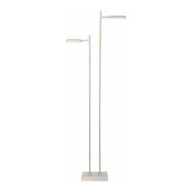 Vloerlamp Block led, 2-delig geborsteld staal
