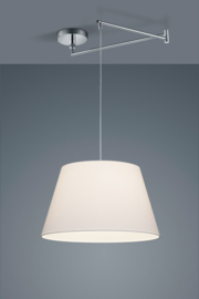 Hanglamp Certo chroom met witte stoffen kap