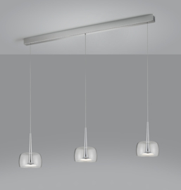 Hanglamp Flute led, 3-lichts nikkel met helder glas