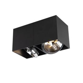 Plafondspot  Design rechthoekig, 2-lichts zwart incl. licht bron
