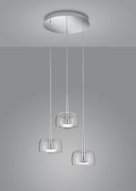Hanglamp Flute led, 3-lichts rond nikkel met helder glas