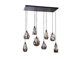 Hanglamp Vincent, 8-lichts met rookglas incl. licht bron