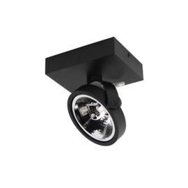 Plafondspot  Go rechthoekig, 1-lichts zwart incl. licht bron
