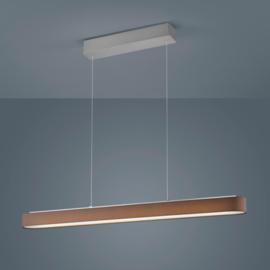Hanglamp Bora led, mat nikkel met mokka kap 100 cm