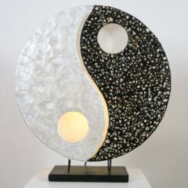 Tafellamp Ying Yang, parlemour wit-zwart 36 cm