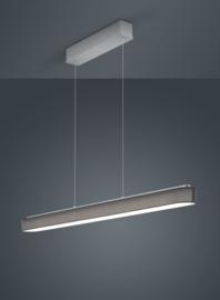 Hanglamp Bora led, mat nikkel met antraciet kap 120 cm