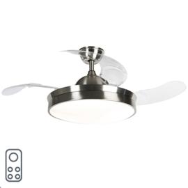 Plafond ventilator Xiro led, staal met afstandsbediening