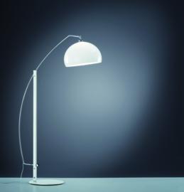 Vloerlamp Doro, mat wit met chroom