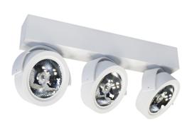 Plafondspot  QR0013W led, 3-lichts mat wit incl led