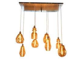 Hanglamp Vincent, 8-lichts NI  amberglas incl. licht bron