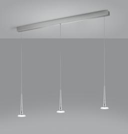 Hanglamp Flute led, 3-lichts nikkel